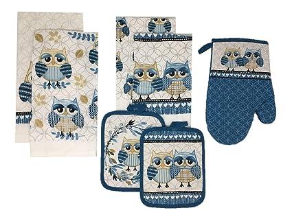 fceeb9dd7a1 Amazon.com  Mainstay Owl 7 Piece Kitchen Towels