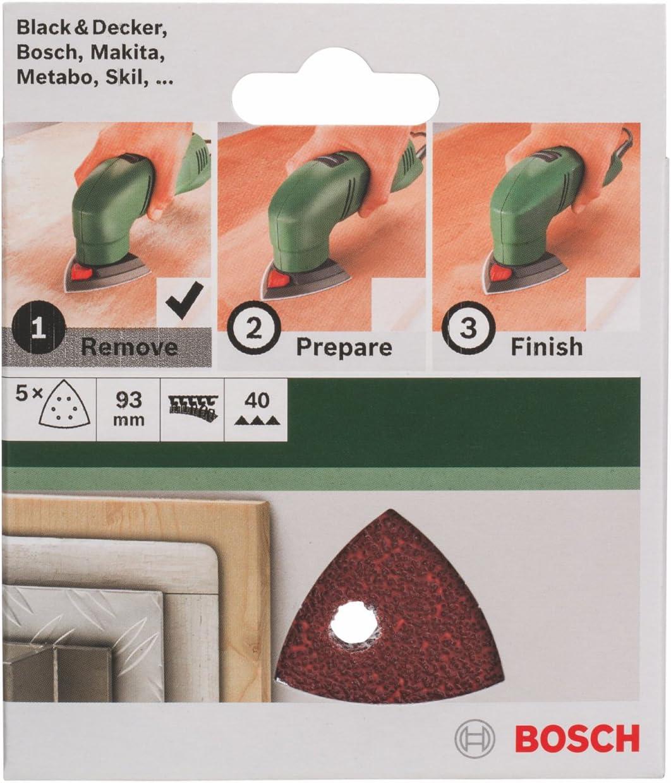 Bosch 2 609 256 A48 Juego de hojas de lija de 5 piezas para lijadora Delta