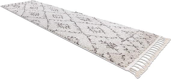 Sala SAFI Bianca 60x200 cm Marocchino Stile berbero Tappeto Berber Shaggy RugsX Passatoia Corridoio per Cucina Frange