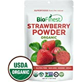 Biofinest Strawberry Juice Powder - 100% Pure Freeze-Dried Antioxidants Superfood - USDA Certified Organic Kosher Vegan Raw Non-GMO - Boost Digestion Weight Loss - For Smoothie Beverage Blend (4 oz)
