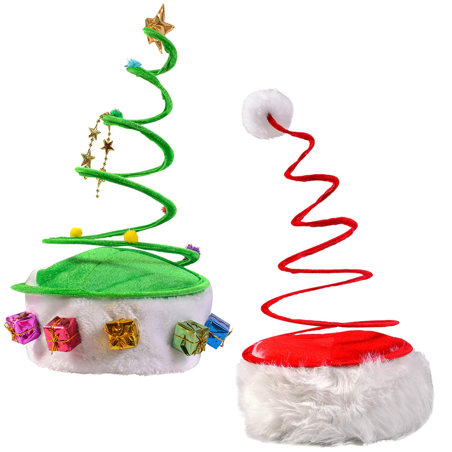 Funny Party Hats Christmas Hats - Red Coil Santa Hat - Green Coil Christmas Tree Hat - Springy Christmas Hat - (2 Pack) by Funny Party Hats