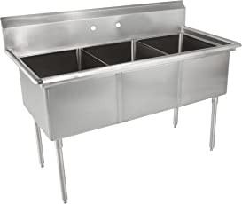 John Boos E Series Stainless Steel Sink, Multi Bowl, 3 Compartment, 35