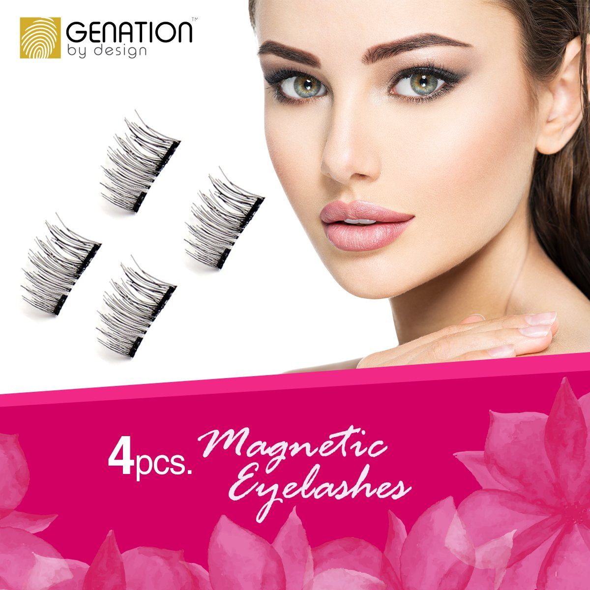 fb5e20376fe Genation Dual Magnetic False Eyelashes - 3D Reusable Best Fake Lashes –  Natural looking Lash Extensions - Handmade From Synthetic Flexible Fibers -  Dramatic ...