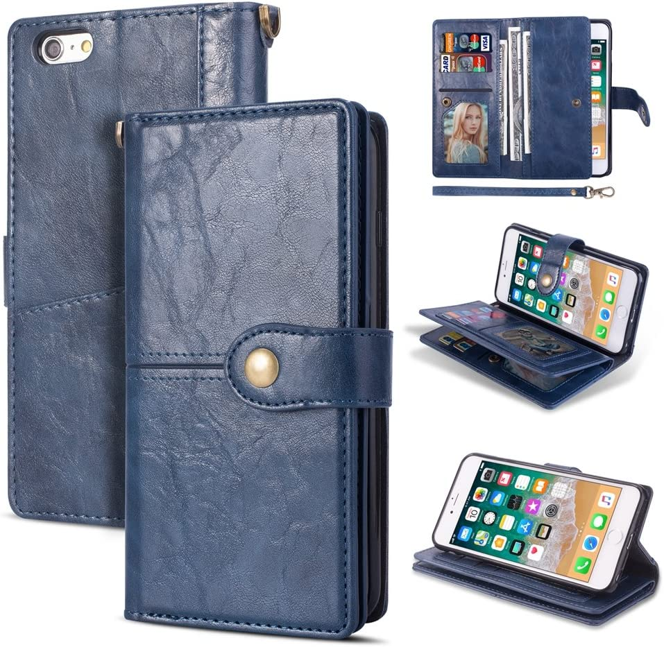 iPhone 6 Plus Wallet Case,Kudex Heavy Duty Impact Resistant Protective Shockproof Leather Folio Flip Magnetic Card Slot Stand with Wrist Strap Case Cover for iPhone 6 Plus / 6S Plus 5.5'' (Blue)