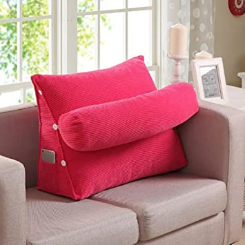FLHSLY Lumbar Support Cushions Reading Pillows Bedside Cushions Sofa Big  Backrest Adjustable Height Washable , Pink