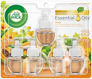Air Wick plug in Scented Oil 5 Refills, Hawaii, (5x0.67oz), Essential Oils, Air Freshener