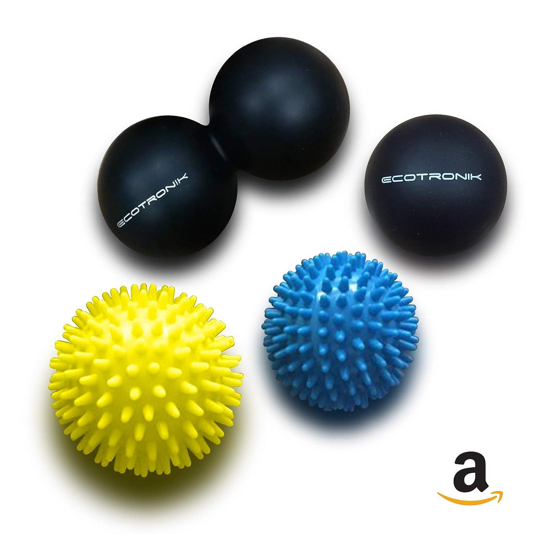 Juego de pelotas de masaje ECOTRONIK - Juego de 2 pelotas con pinchos, 1 Pelota Lacrosse y 1 Peanut Ball - Materiales de calidad médica superior - Apto para ...