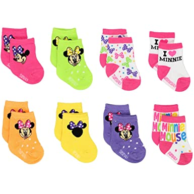 Amazon Com Mickey And Minnie Mouse Baby Boys Girls 8 Pack Socks