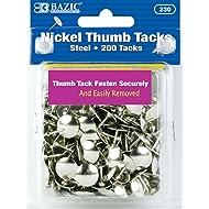 BAZIC Silver Thumb Tacks. 200 Push Pins for Crafts and Office Organization