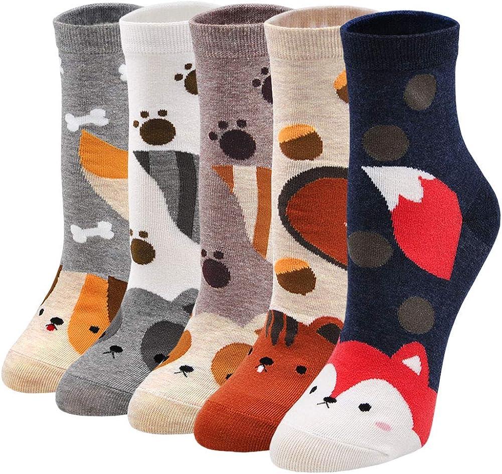 Calcetines de Algod/ón Mujer Calcetines Animales Perros Originales 5 Pares Calcetines de Navidad Calcetines Divertidos Mujer Calcetines T/érmicos