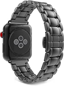 MoKo Band Compatible with Apple Watch 38mm 40mm Series 5/4/3/2/1, Premium Stainless Steel Metal Replacement Watch Strap Bracelet - Space Gray(Not Fit iWatch 42mm 44mm)