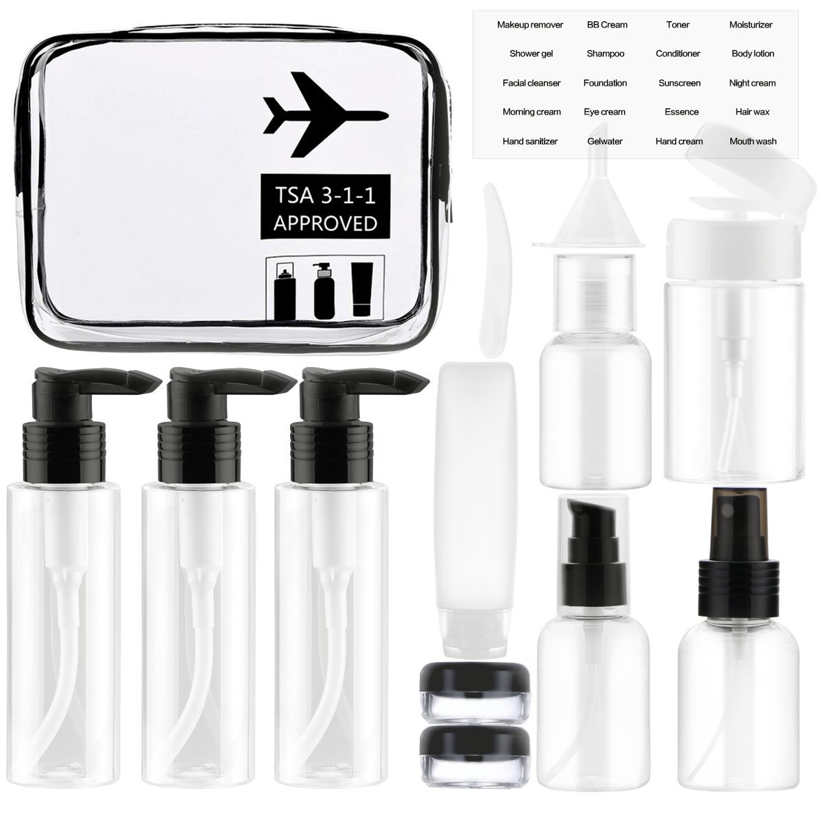 Wifzu 13PCS Travel bottles Set for Toiletries, Air Travel Size Clear Bottles and Jars for shampoo body wash Cosmetics with 1 TSA approved Clear zipper bag (black)
