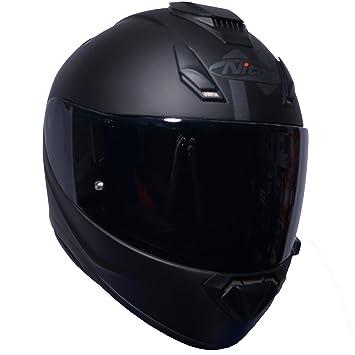 Casco integral para motocicleta Nitro N3100 Blackout, color negro mate y visera oscura