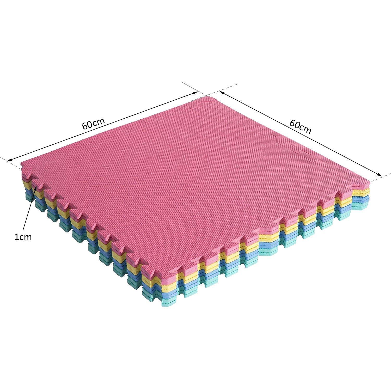 homcom Tappeto Puzzle Bambini Multiuso Ecologico Set di 24 Pezzi in Eva 610 /× 610 /× 10mm con certificati EN711 EN7113,6P EN712