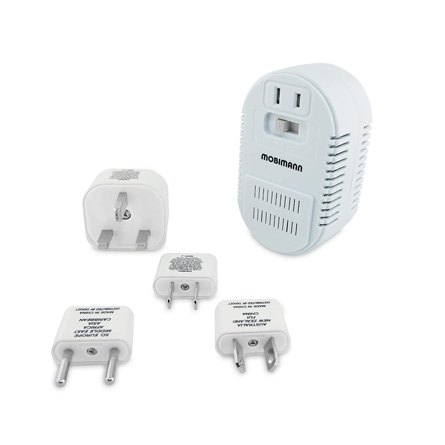 Mobimann 25W/1875W Dual Wattage Universal World Travel Adapter and Voltage Converter - 220V to 110V Transformer for Hair Dryer Cell Phone - with 4 Adapter US/AU/UK/EU2.5A Plugs Included