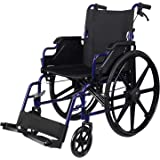 LIVINGbasics Light Weight Wheelchair with Flip Back Desk Arms, Swing Away Footrests, 18-Inch Seat Width, Foldable, Weight Cap