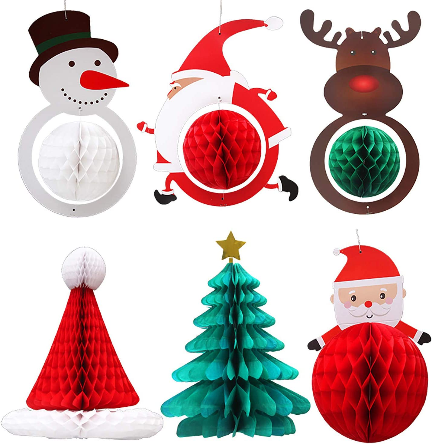 Christmas Decorations 6PCS 3D Christmas Honeycomb Paper Lantern Set for New Year's Eve Xmas Winter Wonderland Party Ornament Window Decor Tree Décor