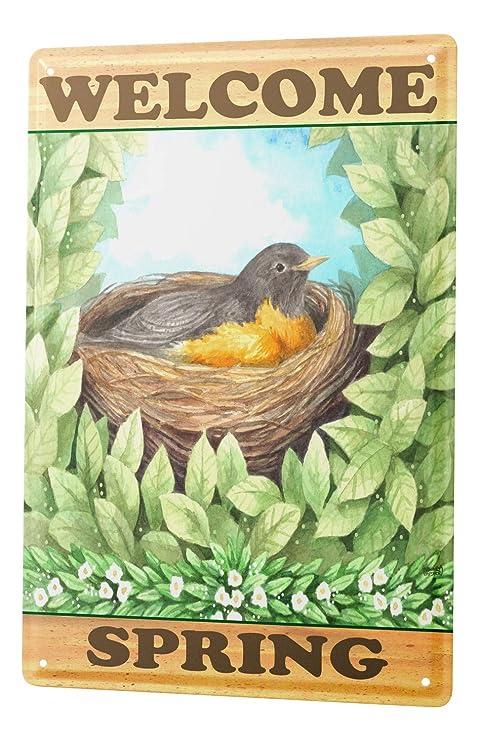 Amazon.com: Cartel de chapa temporadas decoración bienvenida ...