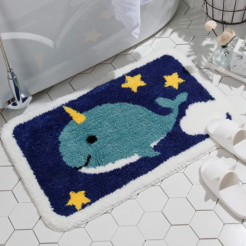 IcosaMro Bathroom Rugs Narwhal Whale Bath Rug for Bathroom Non-Slip Soft Absorbent Machine-Washable, Shower Bathroom Decor Bath Mat, 16x24 Inches, Blue