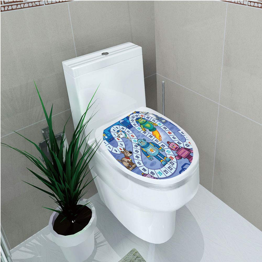 Toilet Cover Sticker 3D Printing,Board Game,Futuristic Robots Automaton Mechanical Characters Technology Factory Boys Print Decorative,Multicolor,for You Design,W12.6''xH14.9''