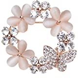 Maikun Clear Rhinestone Opal Cute Butterfly Flower Brooch White Gift Valentine's Mother's Day