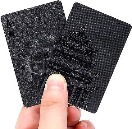EAY Luxury Waterproof Black Playing Cards Deck of Cards Poker Cards Plastic Playing Cards Gilding Black Playing Cards Black Gilding