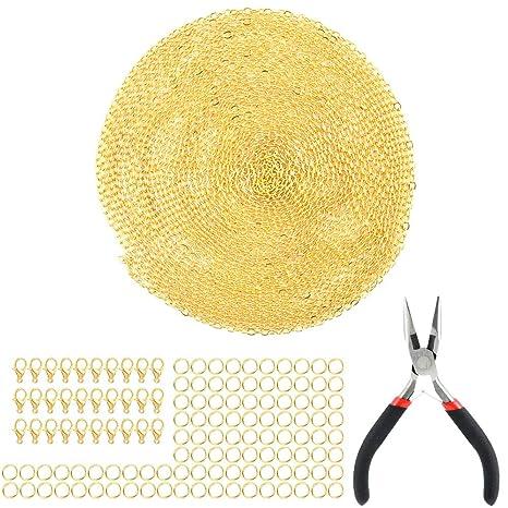 15 m Collar Cadena de 1,5 mm, Un alicates de Punta, 30pcs Corchetes de Langosta y 100pcs Anillos de Salto Abierto para Elaboración de Joyería
