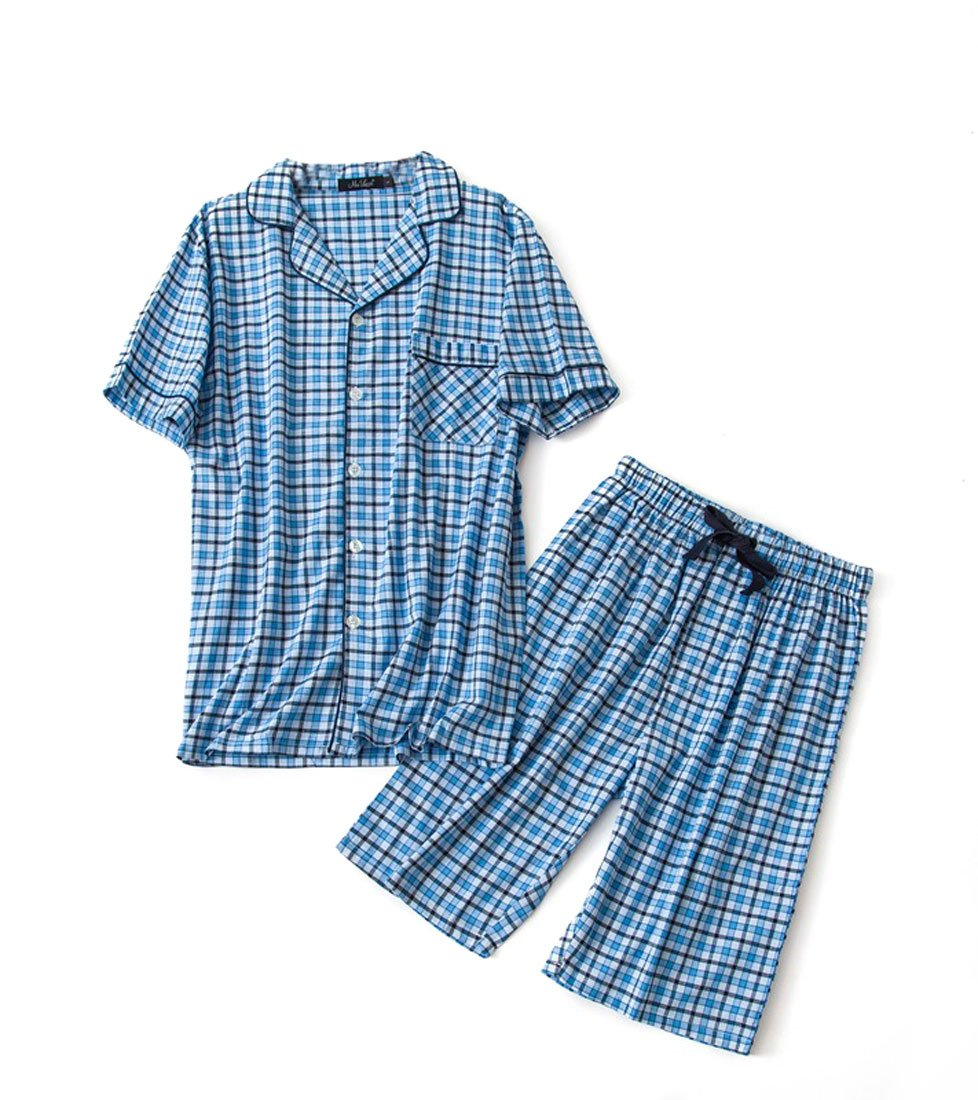Men's Cotton Woven Short Pajama Set Sleepwear (Blue Plaid, Medium)