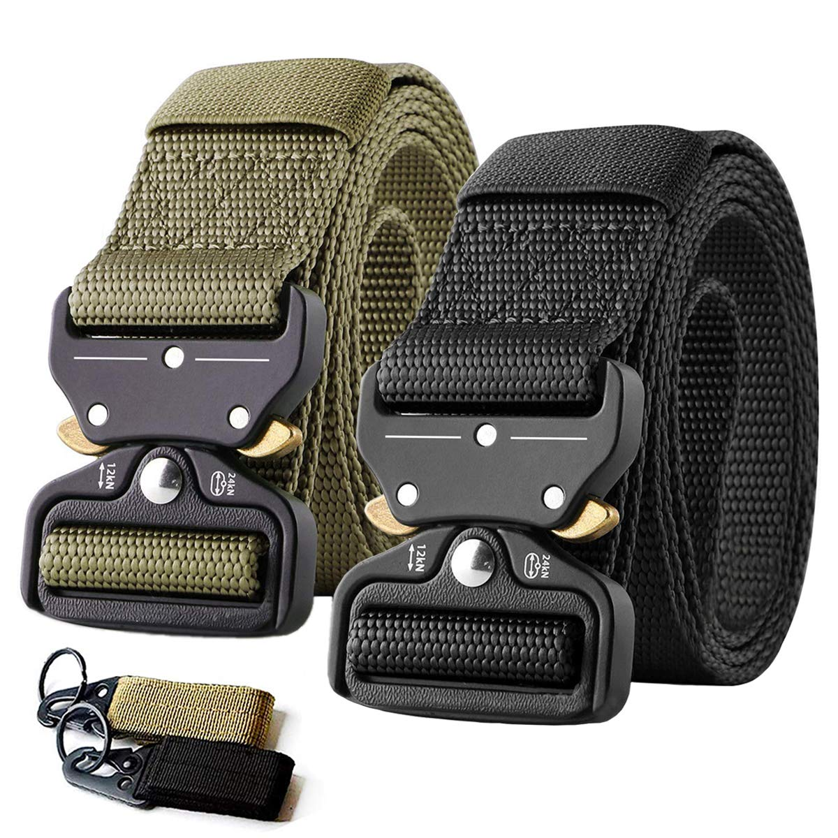 Maibelts 2 Pack Tactical Belt,Military Style Quick Release Belt,1.5'' Nylon Riggers Belts for Men,Heavy-Duty Quick-Release Metal Buckle