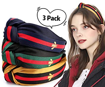 Girls Striped Wave Point Color print Matching Bow Headband Accessories LIN