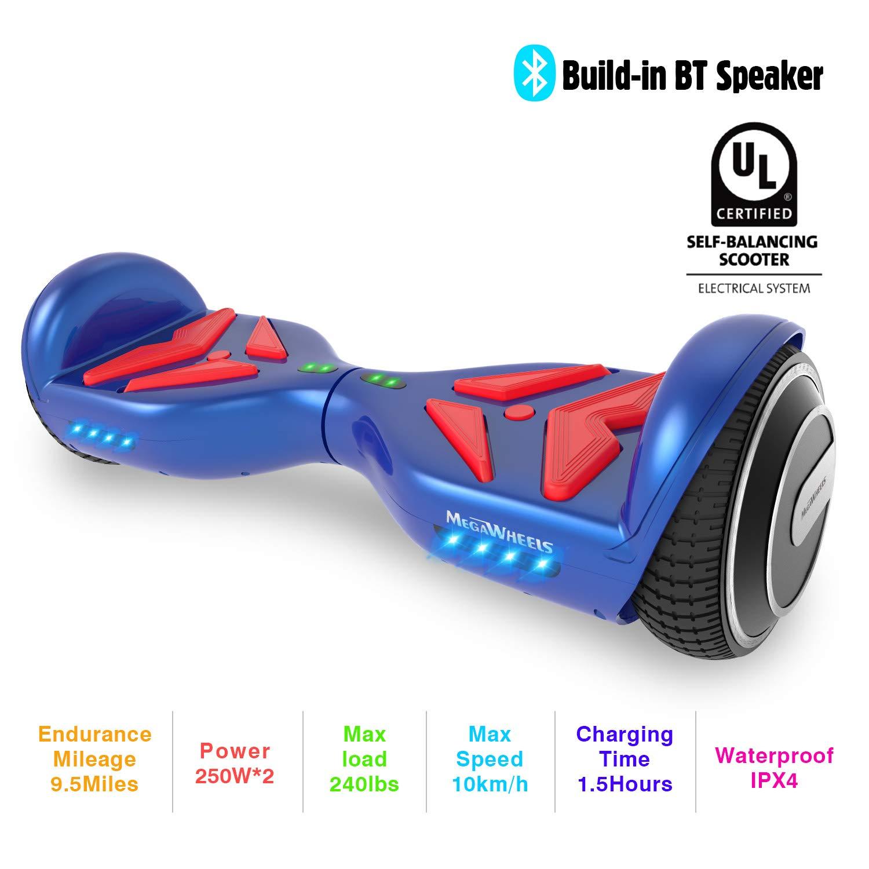 M MEGAWHEELS Scooter-Patinete Eléctrico Hoverboard, 6.5 Pulgadas con Bluetooth - Motor eléctrico 500w, Velocidad 10-12 Km/h. (Blue Red)