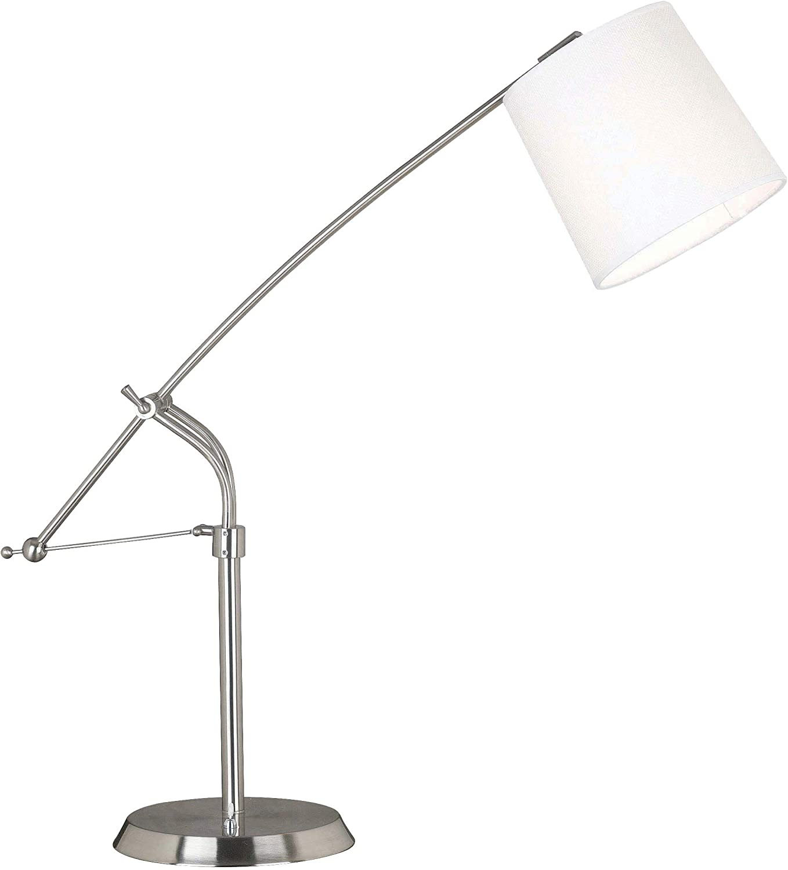 Kenroy Home 20813BS Reeler Adjustable Table Lamp, Brushed Steel