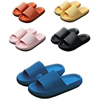 Women Pillow Slides Sandals Non-Slip Comfy Slippers Ultra Soft Cloud Shower EVA Home (10/11,Black)