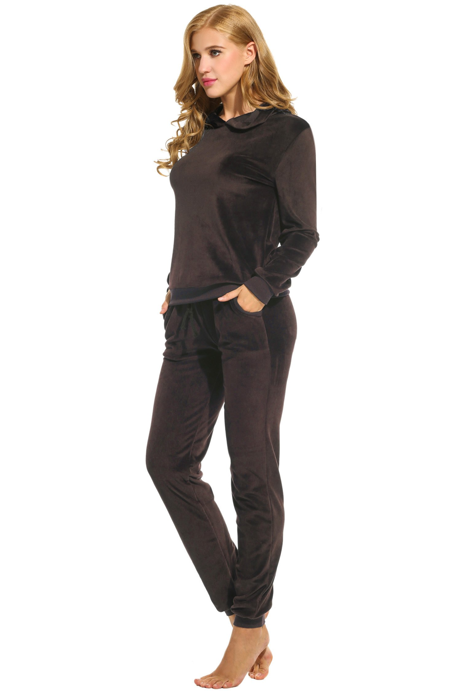 Hotouch Women's Sweatsuit Set Velour Hoodie and Track Pants Coffee L by Hotouch (Image #3)