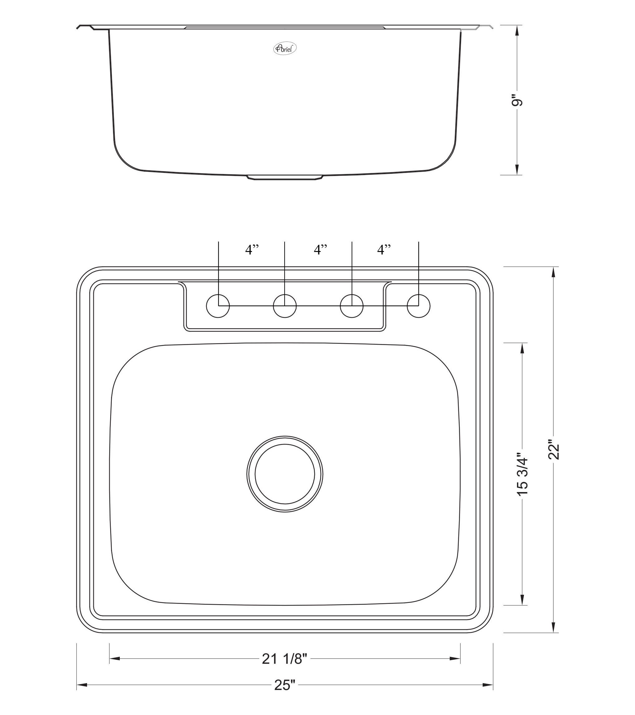 25 Inch Top-Mount / Drop-In Stainless Steel Kitchen Island / Bar Sink - 18 Gauge