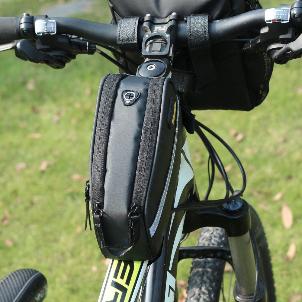 Rhinowalk tubo anteriore bici bag 17,8/cm impermeabile twill nylon ad alta capacit/à per mountain bike pieghevole bici Fixed Gear Bike nero Black