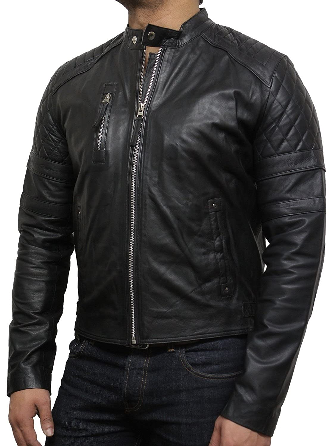 Mens Leather Biker Jacket With Diamond Quilted Stitching Black Designer Look