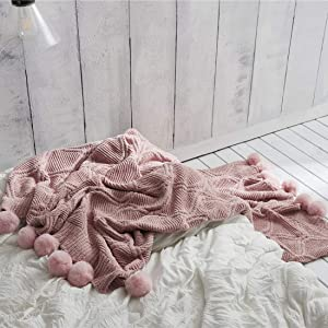 """vctops Super Soft Pom Pom Throw Blanket Knit Throw Blankets with Pompom Fringe Warm Cozy Cable Knitted Blanket for Bed Sofa Chair Living Room (Pink,51""""x63"""")"""
