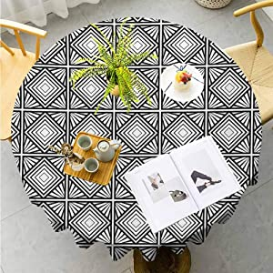 "Jktown Contemporary Fabric Tablecloth Monochrome and Geometric Mosaic Composition with Squares Diamond Shapes Parties Wedding Patio Dining Diameter 70"",Black and White"