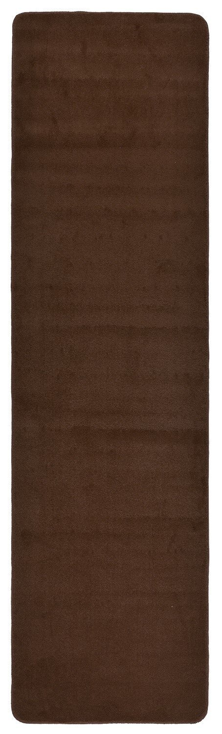 Comfy Solid Color Runner Area Rug 26 Inch Wide x Your Choice Length In 3 Color Options Slip Skid Resistant Rubber Back (Brown, 2'2''x12')