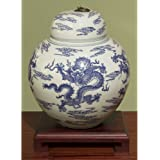 China Furniture Online Porcelain Jar, Hand Painted Imperial Dragon Motif Ginger Jar with Lid Blue and White