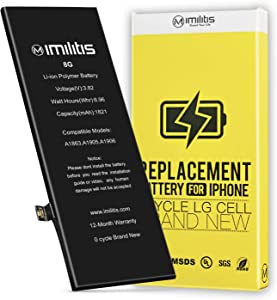 IMILITIS Compatible Replacement Battery for iPhone 8 (No Tools), 1821 mAh High Capacity Li-ion Battery 0 Cycle - Instructions and Adhesive Included - 18 Months Warranty