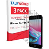 TalkWorks iPhone 8 Screen Protector (Also Fits iPhone 7, 6S, 6) 3 Pack Tempered Glass Film Durable 0.33mm 9H Hardness, Case C