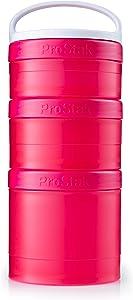 BlenderBottle ProStak Twist n' Lock Storage Jars Expansion 3-Pak with Removable Handle, Pink