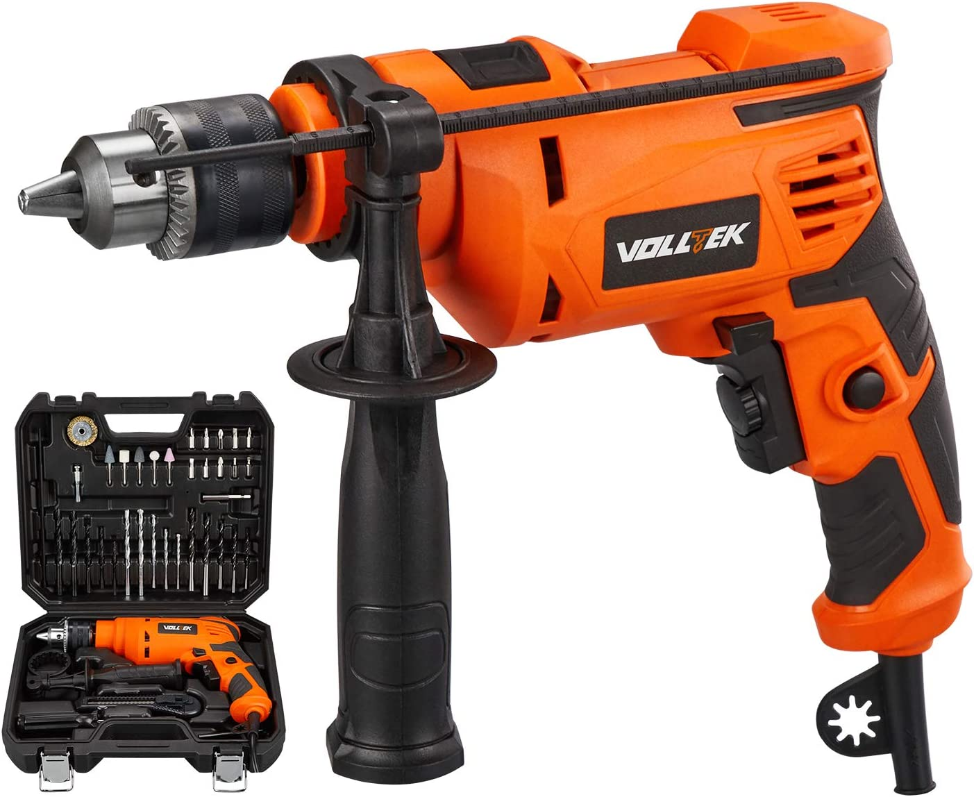 VOLLTEK 710W Hammer Drill kit with 38pcs Bit 6.5Amp 0-3200RPM Variable-speed Trigger Hammer and Drill Function 2 in 1, Suitable for DIY Woodworking VPID1041