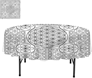 """Aishare Store Sacred Geometry Stain Resistant Fabric Tablecloths, Multiple Spirals, Decorative for Holiday Home Party, Round 50"""""""