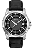 Bulova Men's Precisionist Black Dial and Leather Strap Watch