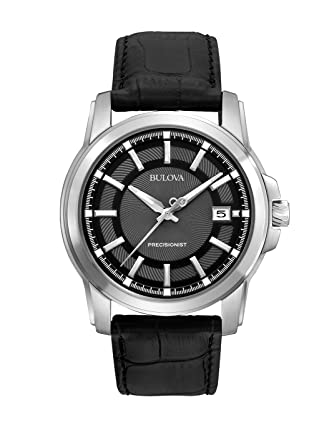 824b7bd3c Amazon.com: Bulova Men's 96B158 Precisionist Leather Strap Watch ...