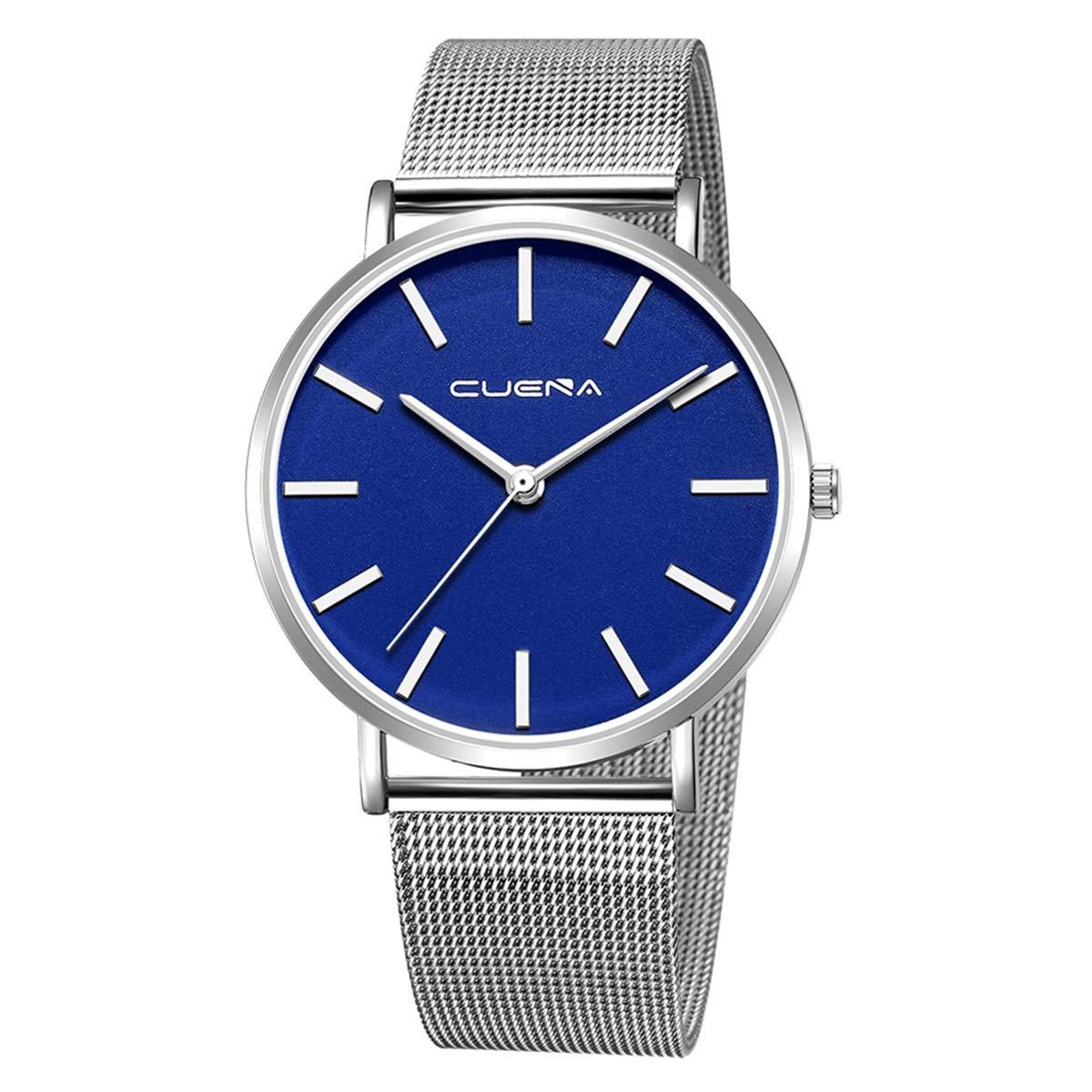 ZODRQ Men's Watch,Fashion Watches Stainless Steel Mesh Wrist Watch Casual Wristwatch Quartz Watch for Men Gift (J) by ZODRQ