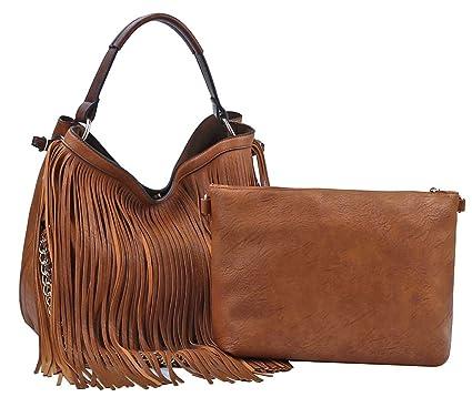 3f2fc16e1dad Amazon.com  Handbag Republic Double Strap Fringe Hobo w inner Bag Crossbody  (Brown)  Clothing